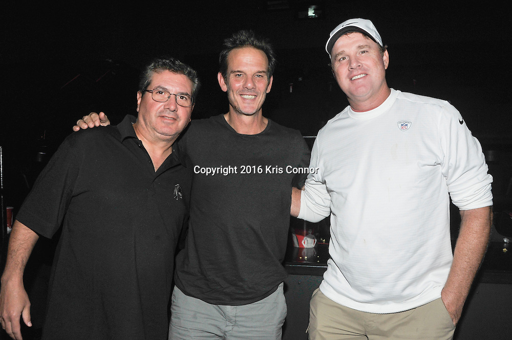 RICHMOND, VA - AUG 13: Washington Redskins Owner Dan Snyder and director Peter Berg and Redskins coach Jay Gruden pose for a photo during a special screening for the Washington Redskins football team of Lions gate Entertainment's new movie Deepwater Horizon at Bow Tie Cinema on August 13, 2016 in Richmond, Va. (Photo by Kris Connor for Lions Gate Entertainment)