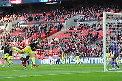 Bristol City's Mark Little heads towards goal before scoring the rebound - Photo mandatory by-line: Dougie Allward/JMP - Mobile: 07966 386802 - 22/03/2015 - SPORT - Football - London - Wembley Stadium - Bristol City v Walsall - Johnstone Paint Trophy Final