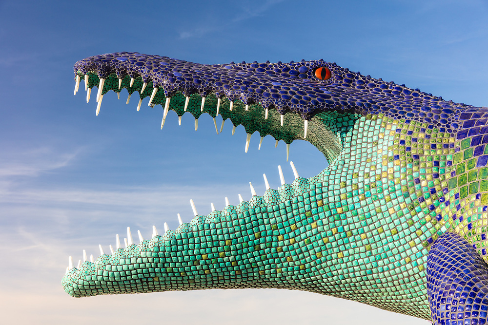 Niloticus<br /> by: Peter Hazel<br /> from: Reno, NV<br /> year: 2019<br /> <br /> Niloticus is a 40 foot long mosaic crocodile that invites visitors to climb on top of him. His eyes, teeth, and osteoderms will light up in the night.<br /> <br /> Contact: peter@peterhazel.com<br /> <br /> https://burningman.org/event/brc/2019-art-installations/?yyyy=&artType=h#a2I0V000001AW2iUAG My Burning Man 2019 Photos:<br />