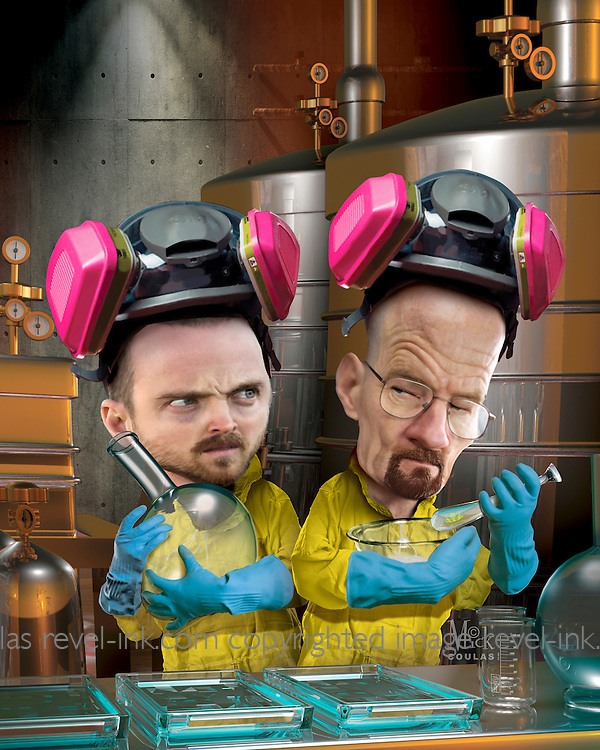 Caricature: Breaking Bad. Bryan Cranston as Walter White (Heisenberg), Aaron Paul as  Jesse Pinkman, both meth cooks in this dark comedy. 3D and Photoshop. Originally Created for Penthouse DVD Review.