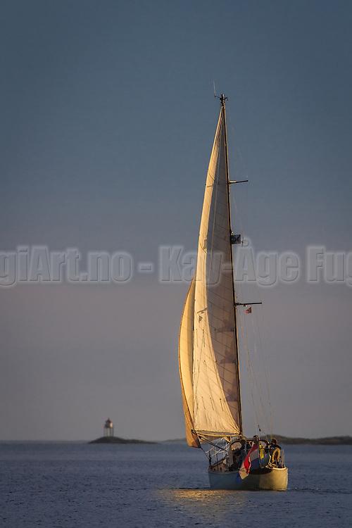 Sailboat in sunlight | Seilbåt i sollys  i Herøyfjorden.