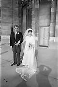 "16/09/1967<br /> 09/16/1967<br /> 16 September 1967<br /> Wedding of Mr Francis W. Moloney, 28 The Stiles Road, Clontarf and Ms Antoinette O'Carroll, ""Melrose"", Leinster Road, Rathmines at Our Lady of Refuge Church, Rathmines, with reception in Colamore Hotel, Coliemore Road, Dalkey. Image shows the Bride and Groom outside the church after the ceremony."