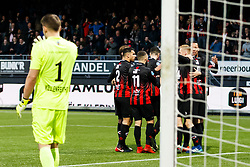 (L-R) goalkeeper Timon Wellenreuther of Willem II,  Khalid Karami of Excelsior, Stanley Elbers of Excelsior, Hicham Faik of Excelsior, Mike van Duinen of Excelsior, Luigi Bruins of Excelsior, Ryan Koolwijk of Excelsior during the Dutch Eredivisie match between sbv Excelsior Rotterdam and Willem II Tilburg at Van Donge & De Roo stadium on April 06, 2018 in Rotterdam, The Netherlands