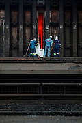 November, 2009. Workers at the ArcelorMittal plant in Vanderbijlpark, South Africa.  ArcelorMittal is the world's number one steel company. founded in 1989 by Mr. Lakshmi N. Mittal, the Chairman of the Board of Directors and Chief Executive Officer of ArcelorMittal. ArcelorMittal South Africa Limited is the largest steel producer on the African continent, with a production capacity of 7.8 million tonnes of liquid steel per annum.