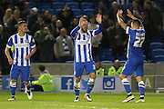 Brighton striker Jiri Skalak (38) celebrates the second goal 2-0 during the Sky Bet Championship match between Brighton and Hove Albion and Queens Park Rangers at the American Express Community Stadium, Brighton and Hove, England on 19 April 2016. Photo by Phil Duncan.