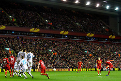 21.02.2013, Anfield, Liverpool, ENG, UEFA Europa League, FC Liverpool vs Zenit St. Petersburg, im Bild Liverpool's Luis Alberto Suarez Diaz scores the first goal against FC Zenit St Petersburg from a free-kick during UEFA Europa League match between Liverpool FC and Zenit St. Petersburg at Anfield, Liverpool, Great Britain on 2013/02/21. EXPA Pictures © 2013, PhotoCredit: EXPA/ Propagandaphoto/ Vegard Grott..***** ATTENTION - OUT OF ENG, GBR, UK *****