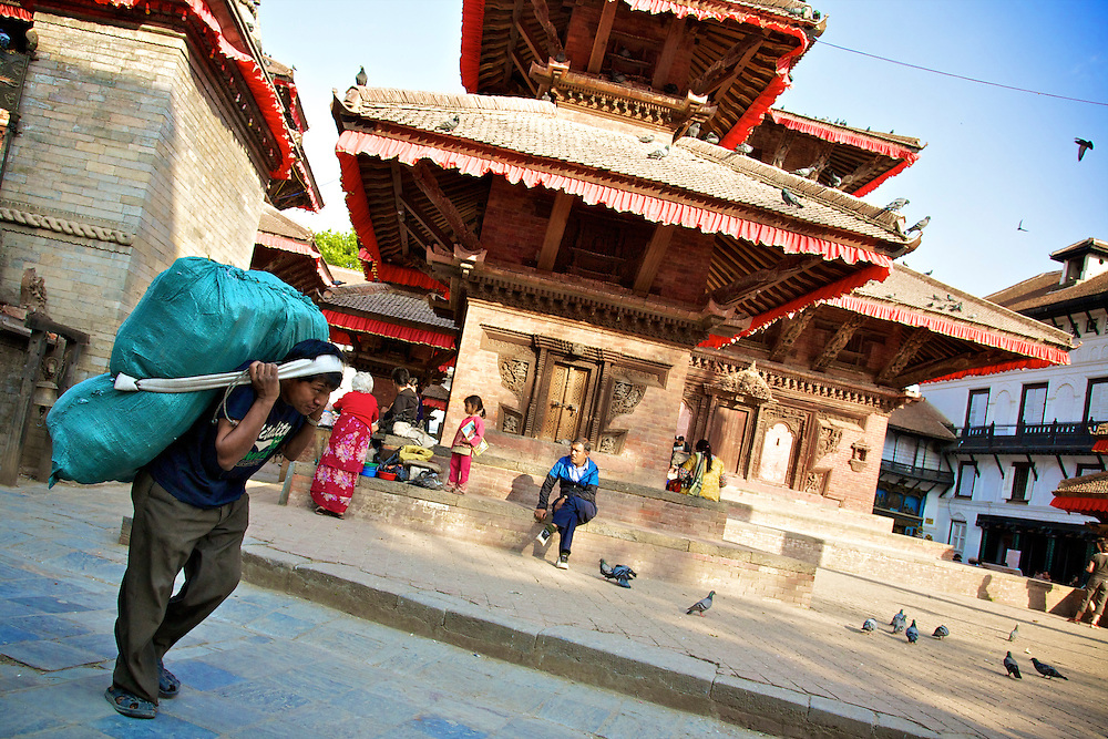 A worker in Durbar Square, Kathmandu, Nepal.