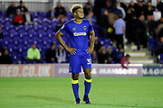 AFC Wimbledon striker Lyle Taylor (33) unhappy during the EFL Cup match between AFC Wimbledon and Brentford at the Cherry Red Records Stadium, Kingston, England on 8 August 2017. Photo by Matthew Redman.