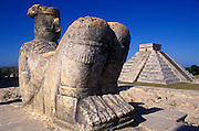 MEXICO, MAYAN, CHICHEN ITZA Chac Mool altar on the Temple of Warriors