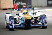 Team Aguri driver, Ma Qing Hua after the chicane during round 10, Formula E, Battersea Park, London, United Kingdom on 3 July 2016. Photo by Matthew Redman.