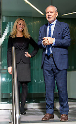 The Apprentice star Lord Alan Sugar visits his 2013 winner Leah Totton's cosmetic clinic Dr Leah, which launched in January, at Dr Leah, 24 Chiswell Street, Moorgate, London, United Kingdom. Wednesday, 5th March 2014. Picture by Nils Jorgensen / i-Images