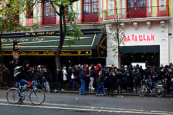 November 13, 2016 - Paris, France - People gather in front of the Bataclan concert hall as France commemorates one year since the Paris terrorist attacks on November 13, 2016 in Paris, France. France pay tributes to the victims of the 2015 Paris terrorists attacks which left at least 130 dead and many others injured by gunmen and suicide bombers from the Islamic State. (Credit Image: © Mehdi Taamallah/NurPhoto via ZUMA Press)