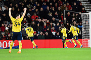 Goal - Edward Nketiah (30) of Arsenal celebrates after he scores a goal to give a 2-0 lead during the The FA Cup match between Bournemouth and Arsenal at the Vitality Stadium, Bournemouth, England on 27 January 2020.