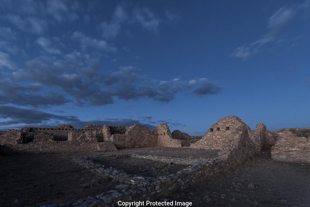 Gran Quivira Mission, dusk, twilight, Salinas Pueblo Missions National Monument, New Mexico