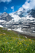 Eiger Glacier, Eigergletscher, between Monch (Monk) and Eiger mountains in the Swiss Alps, Bernese Oberland, Switzerland