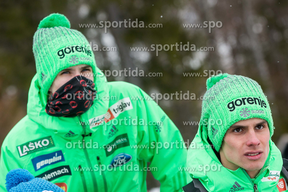 Anze Semenic and Rok Justin during testing jumps at Ski jumping Flying Hill One day before FIS World Cup Ski Jumping Final, on March 16, 2016 in Planica, Slovenia. Photo by Vid Ponikvar / Sportida