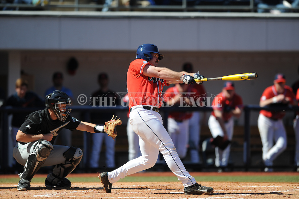 Ole Miss' Sikes Orvis (24) bats against Stetson at Oxford-University Stadium in Oxford, Miss. on Saturday, March 7, 2015. Ole Miss won 8-3 in game 1 of a doubleheader to improve to 7-5.