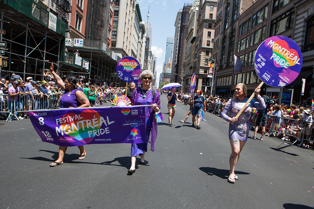 New York, NY - 30 June 2019. The New York City Heritage of Pride March filled Fifth Avenue for hours with participants from the LGBTQ community and it's supporters. Participants included this group from Montréal.
