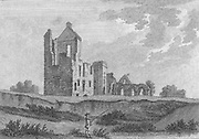 Engraving of Scottish landscapes and buildings from late eighteenth century,Lincluden College, Scotland, UK 1791 , drawn by S Hooper