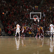 10 December 2016: The San Diego State Aztecs men's basketball team host's Saturday afternoon at Viejas Arena. San Diego State guard Daakarai Allen (4) attempts a three point shot in the first half. The Aztecs lead the Sun Devils 32-25 at half time. www.sdsuaztecphotos.com