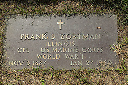 31 August 2017:   Veterans graves in Park Hill Cemetery in eastern McLean County.<br /> <br /> Frank B Zortman  Illinois  Corporal  US Marine Corps  World War I  Nov 3 1887  Jan 27 1963