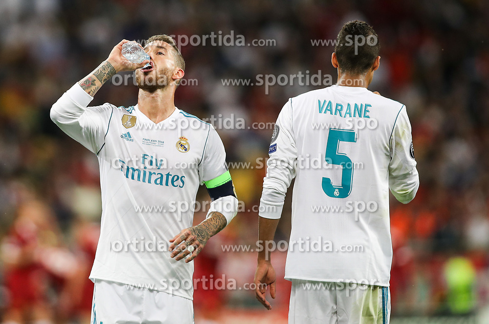 Sergio Ramos of Real Madrid and Raphaël Varane of Real Madrid during the UEFA Champions League final football match between Liverpool and Real Madrid at the Olympic Stadium in Kiev, Ukraine on May 26, 2018. Photo by Andriy Yurchak / Sportida