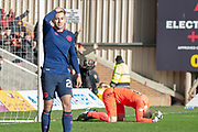 Goalkeeper Colin Doyle (#13) of Heart of Midlothian buries his head in the grass after making a mistake and allowing the winning goal for Motherwell during the Ladbrokes Scottish Premiership match between Motherwell FC and Heart of Midlothian FC at Fir Park, Stadium, Motherwell, Scotland on 17 February 2019.