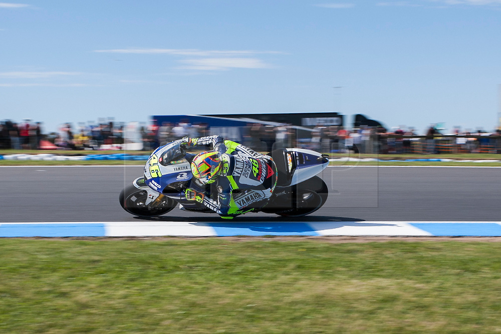 © Licensed to London News Pictures. 19/10/2012. Valentino Rossi (ITA) riding for the Yamaha Factory Racing during the Qualifying day of the round 16 2013 Tissot Australian Moto GP at the  Phillip Island Grand Prix Circuit Victoria, Australia. Photo credit : Asanka Brendon Ratnayake/LNP