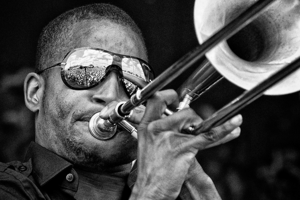 Troy 'Trombone Shorty' Andrews of Trombone Shorty and Orleans Avenue performing on the Gentilly Stage at the 2011 New Orleans Jazz & Heritage Festival at the Fair Grounds Race Course in New Orleans, LA. USA