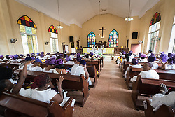 1 November 2019, Careysburg, Liberia: Members of the National Women's Missionary Union of the Liberia Baptist Missionary and Educational Convention observe the annual Baptist Women's World Day of Prayer in the Mount Galilee Baptist Church on Mount Vomblee in Careysburg, Montserrado County, Liberia. The Liberia Baptist Missionary and Educational Convention is a full member of the Liberia Council of Churches, and holds the second vice position there. The Day of Prayer is observed each year in November, at which time offerings are collected and shared with the Baptist World Alliance as a contribution to mission work around the world.