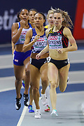 Renee Eykens (Belgium), Renelle Lamote (France), Shelayna Oskan-Clarke (Great Britain), Women's 800m Heat, during the European Athletics Indoor Championships 2019 at Emirates Arena, Glasgow, United Kingdom on 1 March 2019.