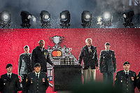 REGINA, SK - MAY 17: Guy Lafleur and Dennis Sobchuk arrive with the Memorial Cup at Mosaic Stadium on May 17, 2018 in Regina, Canada. (Photo by Marissa Baecker/Shoot the Breeze)