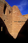 Interior walls and grinding stone at Pueblo Bonito, Chaco Culture National Historic Park, New Mexico USA
