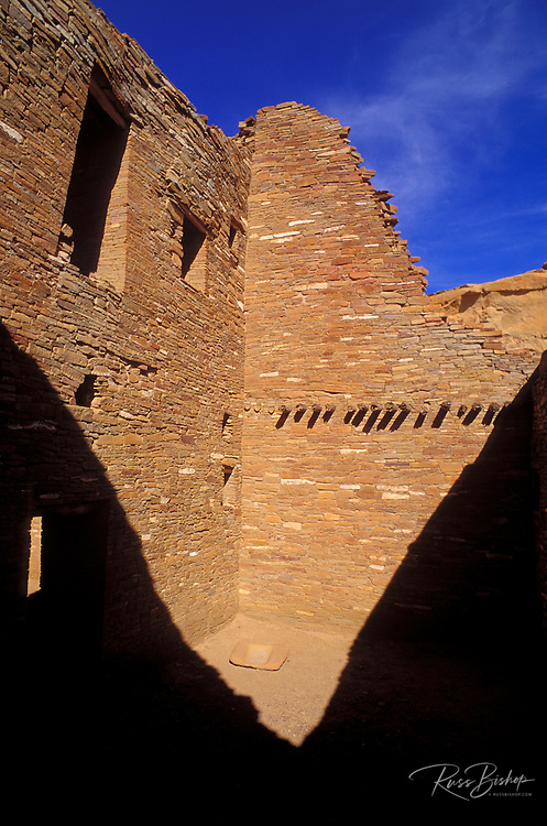 Interior walls and grinding stone at Pueblo Bonito, Chaco Culture National Historic Park, New Mexico USA
