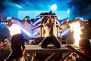 """In """"Aparelhagem"""" (Equipements) parties, the DJs are adulated as semi-gods, talking to the public and their acting is an integral part of the ritual of sound and lighting..""""The Powerful Rubi, the Sound Spaceship"""" is one of the leader """"aparelhagem"""" of Belem and its region. .The first soundmachine from the Santos family is born is the 1950s. More than a half century of innovation from this """"Sound family"""".   In the middle of the night, the sound spaceship will take off graciously thanks to its hydraulic system and shoots its fireworks and lasers, in a pyrotechnic show at the edge of technology."""