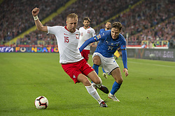 October 14, 2018 - Chorzow, Poland - Kamil Glik of Poland and Federico Chiesa of Italy during the UEFA Nations League A match between Poland and Italy at Silesian Stadium in Chorzow, Poland on October 14, 2018  (Credit Image: © Andrew Surma/NurPhoto via ZUMA Press)