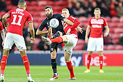Charlton Athletic midfielder Joe Ledley (16) and Middlesbrough midfielder George Saville (22) battle for the ball during the EFL Sky Bet Championship match between Middlesbrough and Charlton Athletic at the Riverside Stadium, Middlesbrough, England on 7 December 2019.