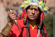 "The Turpuntay, or priest in charge of the cutting with the sacred knife called Tumi. Inti Raymi ""Festival of the Sun"", Plaza de Armas, Cusco, Peru."