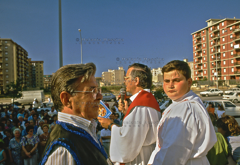 Palermo, mass in the suburbs to celebrate Saint Rosalia.<br /> Palermo, messa in periferia per celebrare Santa Rosalia