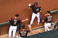 Apr 23, 2016; Phoenix, AZ, USA; Arizona Diamondbacks outfielder David Peralta (6) is congratulated by manager Chip Hale (3), bench coach Glenn Sherlock (53) and pitching coach Mike Butcher (23) after hitting a solo home run against the Pittsburgh Pirates in the third inning at Chase Field. Mandatory Credit: Jennifer Stewart-USA TODAY Sports