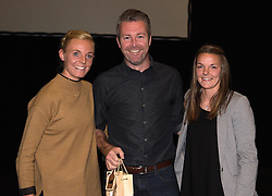 Bristol Academy's Sophie Ingle and Loren Dykes present a gift to manager, Willie Kirk - Photo mandatory by-line: Paul Knight/JMP - Mobile: 07966 386802 - 11/10/2015 - Sport - Football - Bristol - Stoke Gifford Stadium - Bristol Academy WFC End of Season Awards 2015