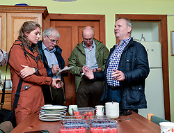 Pictured: Chair of the Scottish Affairs Committee Pete Wishart, SNP MP for Perth talks to the media at the farm.<br /> <br /> Members of the Scottish Affairs Select Committee of Parliament visited West Jordan Stone fruit farm in rural Perthshire to see first hand the effects of reduced numbers of foreign workers coming in to pick fruit and other seasonal jobs, meaning tons of fruit has been left to rot on the plants.<br /> <br /> &copy; Dave Johnston/ EEm