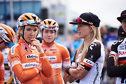 Julia Soek (NED) chats to Amy Pieters (NED) at Grand Prix de Plouay - Lorient Agglomération WNT 2018. A 125.5 km road race in Plouay, France on August 25, 2018. Photo by Sean Robinson/velofocus.com