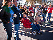 31 OCTOBER 2010 - WINDOW ROCK, AZ: People listen to  Terry Goddard speak at the Democratic rally in Window Rock. Goddard, and the other Democrats on the statewide ticket, campaigned in Window Rock and Kingman on Halloween. Goddard ended the day with a press conference in front of the Executive Office Tower at the State Capitol in Phoenix. Goddard lost the election to sitting Governor Jan Brewer, a conservative Republican.     PHOTO BY JACK KURTZ