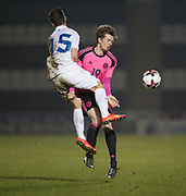 Estonia's Oskar Berggren goes in hard on Scotland's Craig Wighton - Scotland under 21s v Estonia international challenge match at St Mirren Park, St Mirren. Pic David Young<br />  <br /> - © David Young - www.davidyoungphoto.co.uk - email: davidyoungphoto@gmail.com
