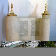 Torah Set - this miniature Torah set was commissioned by Edgar Astaire.  The style and simplicity are different from the traditional forms of the past.  The menorah engraved on the Torah breastplate is an established emblem of the Jewish people.