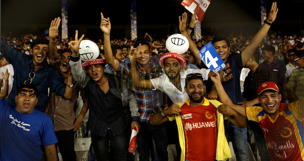Fan's Enjoy's during match 22 of the Pepsi IPL 2015 (Indian Premier League) between The Rajasthan Royals and The Royal Challengers Bangalore held at the Sardar Patel Stadium in Ahmedabad , India on the 24th April 2015.<br /> <br /> Photo by:  Sandeep Shetty / SPORTZPICS / IPL