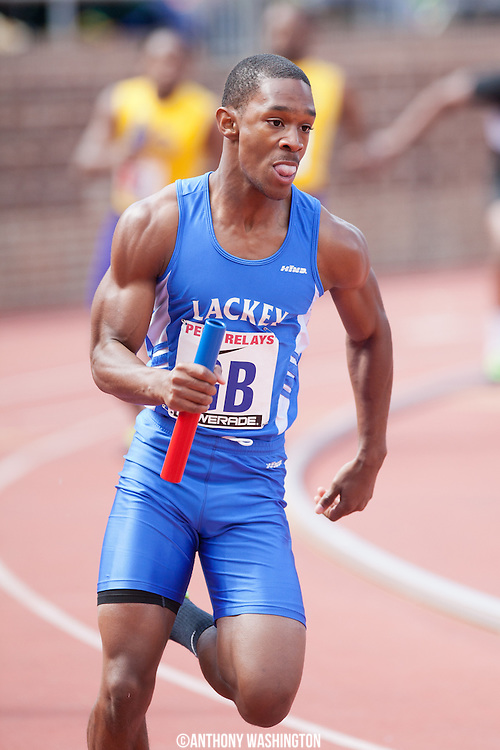 Calvin Whitfield of Lackey High School runs the anchor leg of the 4x100 High School Small Schools Heat during the Penn Relays athletic meets on Friday, April 27, 2012 in Philadelphia, PA.