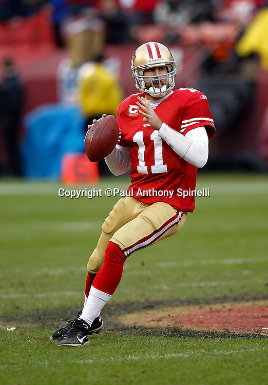 San Francisco 49ers quarterback Alex Smith (11) drops back to pass during the NFL week 17 football game against the Arizona Cardinals on Sunday, January 2, 2011 in San Francisco, California. The 49ers won the game 38-7. (©Paul Anthony Spinelli)