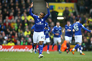 Picture by Paul Chesterton/Focus Images Ltd.  07904 640267.18/02/12.Neil Danns of Leicester leads the celebrations after his sides 1st goal during the FA Cup Fifth Round match at Carrow Road stadium, Norwich.